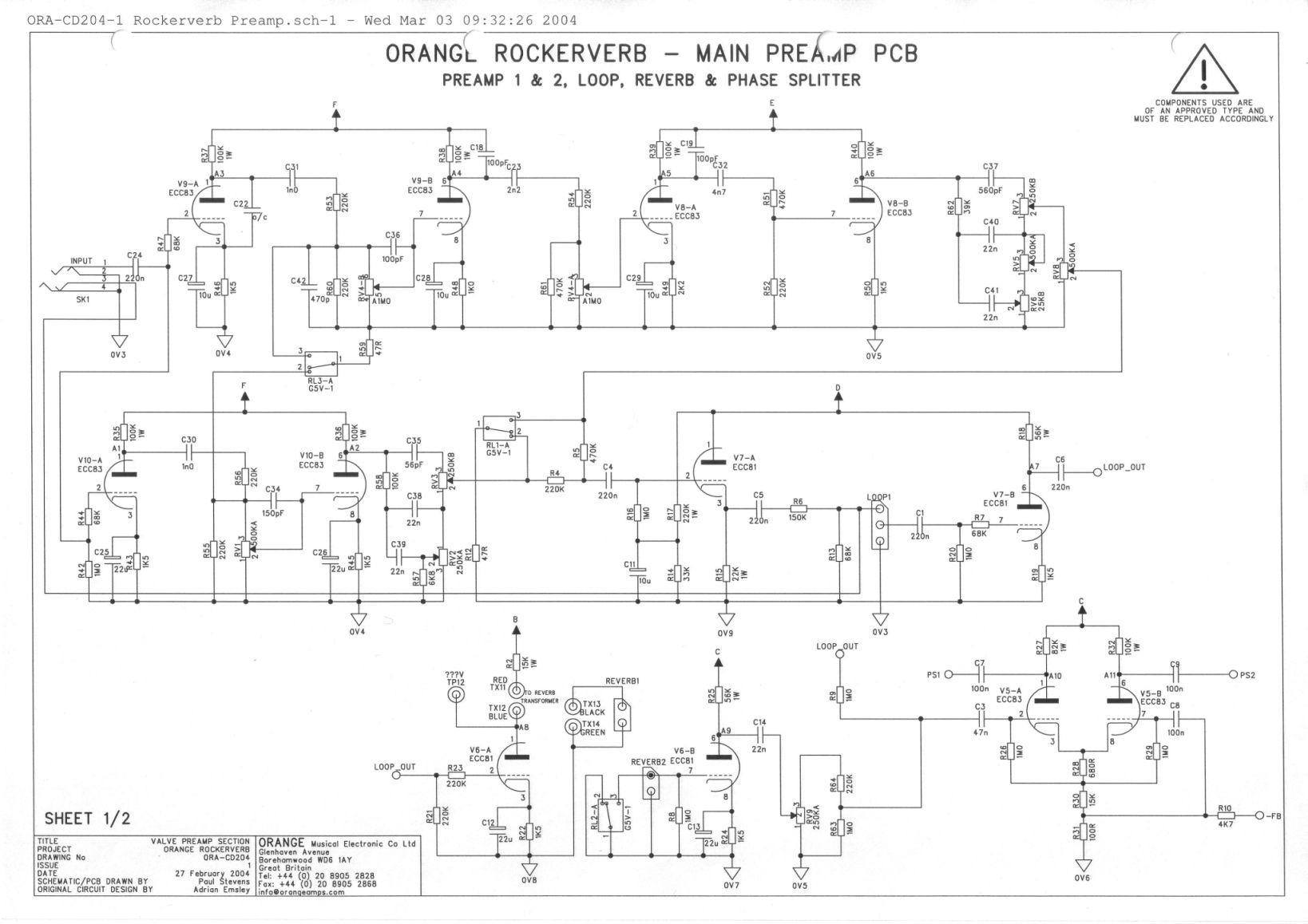 orange rockerverb wiring diagram explore schematic wiring diagram u2022 rh appkhi com Orange Guitar Orange OR15H Stack